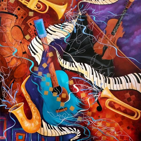 Sale Music Art Jazz Painting Juleez | Music Is Art | Pinterest Inside Abstract Musical Notes Piano Jazz Wall Artwork (View 19 of 20)