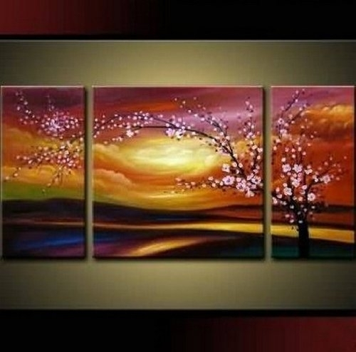 Santin Art – Plum Tree Blossom 100% Hand Painted Abstract Wall Art Regarding Large Framed Abstract Wall Art (View 4 of 15)