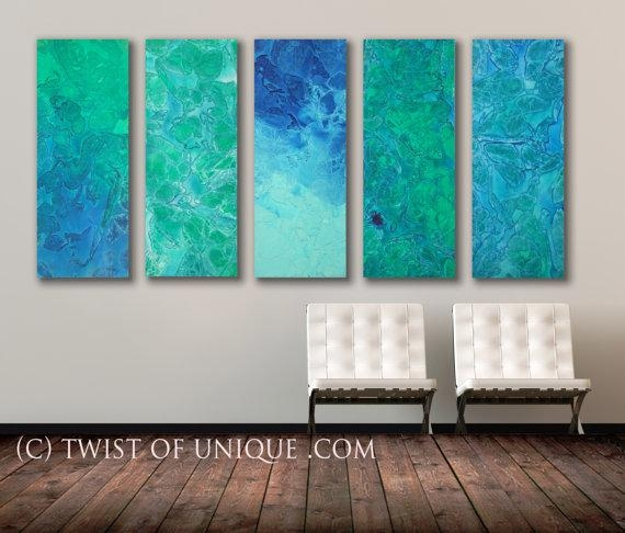 Seaglass Abstract Painting, 5 Panel Original (40 Inches X 16 With Regard To Blue Abstract Wall Art (Image 16 of 20)