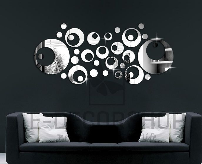 Silver Mirror Wall Decal Stickers Home Decor Living Room Abstract Regarding Abstract Art Wall Decal (Image 10 of 15)