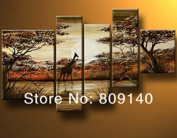 South African Landscape Oil Painting Canvas Dark Color High Inside Abstract African Wall Art (Image 18 of 20)