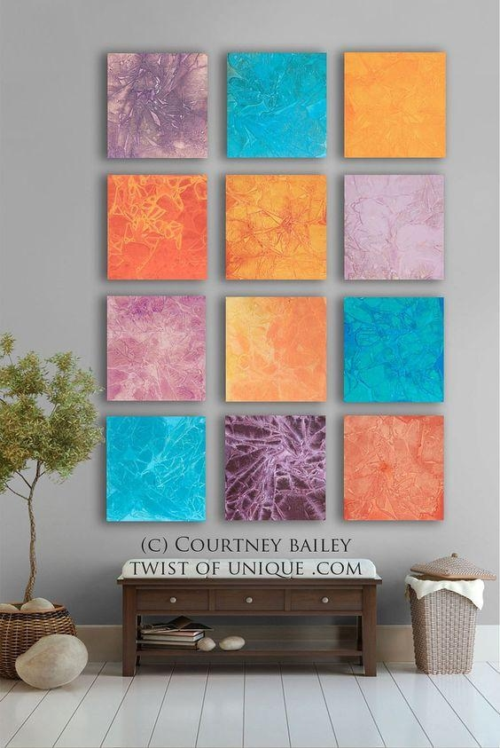 Southwest Bold Abstract Painting, 12 Square Original Abstract With Regard To Bold Abstract Wall Art (Image 17 of 20)