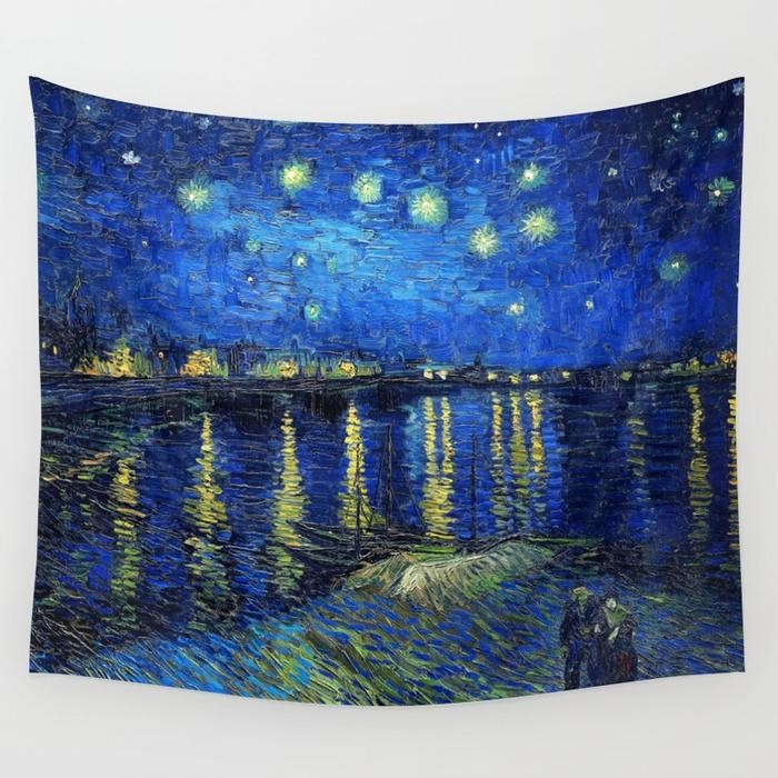 Starry Night Over The Rhonevincent Van Gogh Wall Tapestry With Vincent Van Gogh Wall Art (Image 12 of 20)