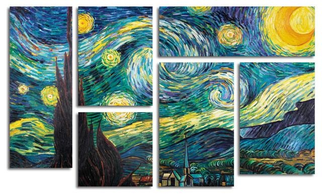 Starry Night Vincent Van Gogh Print Home Decor Wall Art Silk With Regard To Vincent Van Gogh Multi Piece Wall Art (Image 10 of 20)