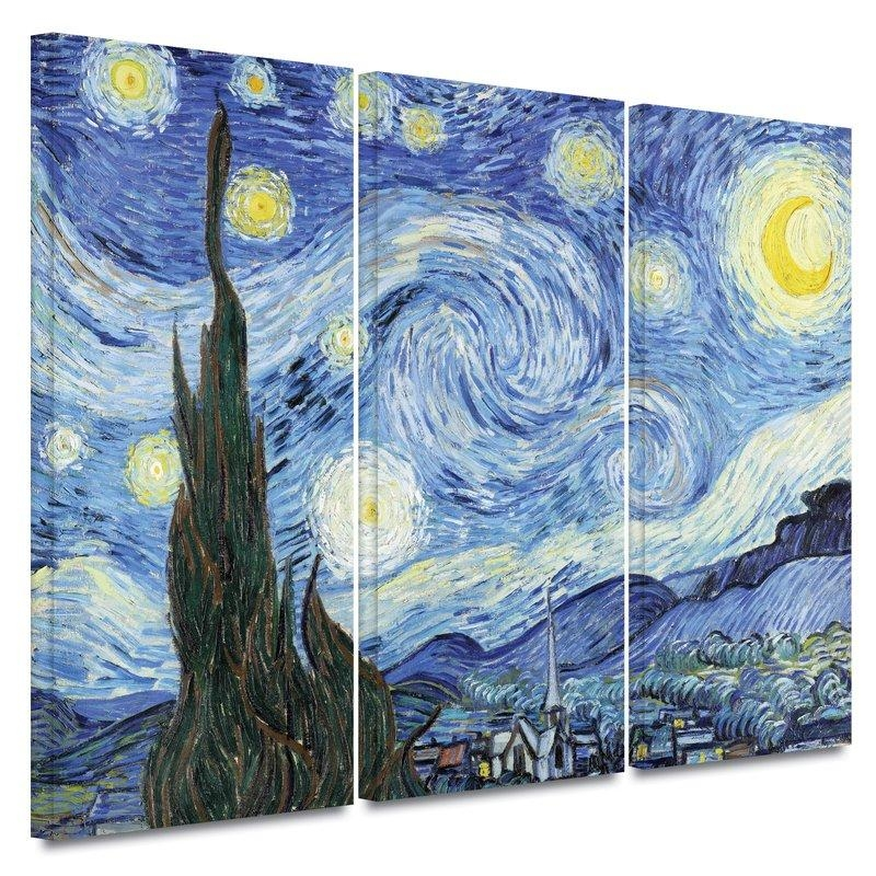 "Starry Night""vincent Van Gogh 3 Piece Painting Print On Canvas For Vincent Van Gogh Multi Piece Wall Art (Image 11 of 20)"