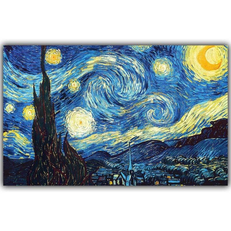 Starry Nightvincent Van Gogh 3 Piece Painting Print On Canvas In Vincent Van Gogh Multi Piece Wall Art (Image 12 of 20)