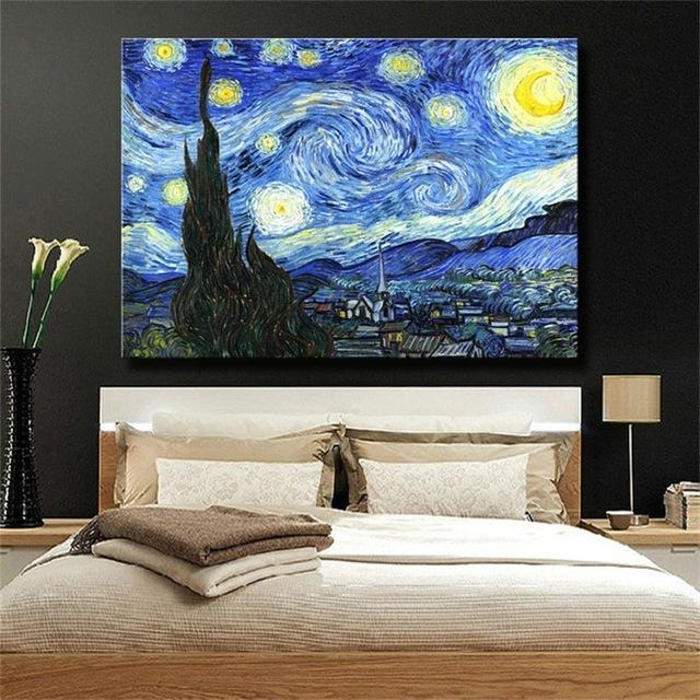Starry Nightvincent Van Gogh Famous Reproduction Oil Painting With Regard To Vincent Van Gogh Wall Art (Image 14 of 20)