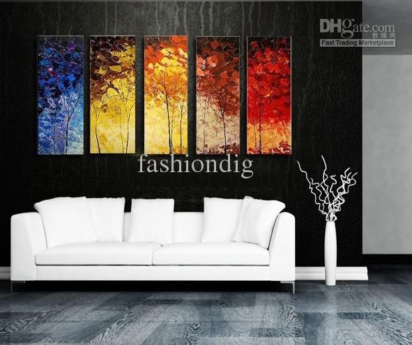Stretched Abstract Landscape Knife Oil Painting Canvas Ready To With Abstract Wall Art For Office (Image 7 of 15)