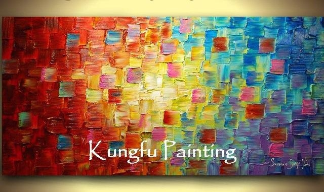 Tex1024 100% Hand Painted Good Quality Large Canvas Contemporary In Bright Abstract Wall Art (View 2 of 20)