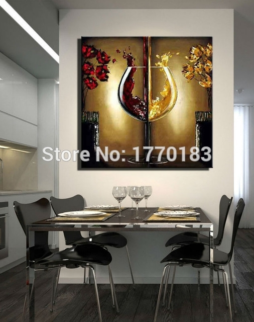 The Red Wine Glass Painting Handmade Modern Abstract Flower Oil Throughout Abstract Wall Art For Dining Room (Image 13 of 15)