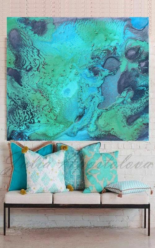 Turquoise Print, Aqua Wall Art, Abstract Painting, Tropical Water Within Aqua Abstract Wall Art (Image 16 of 20)
