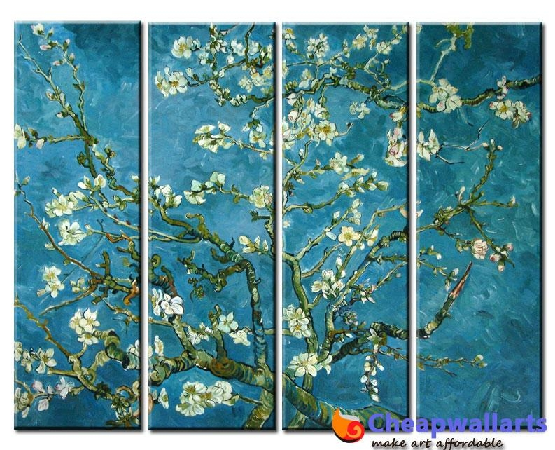 Van Gogh Almond Tree 4 Piece Art : Cheap Wall Art, Real Wholesale Inside Vincent Van Gogh Multi Piece Wall Art (View 7 of 20)