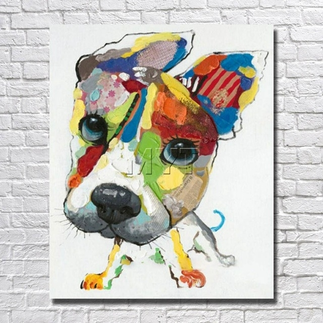 Wall Art Canvas Abstract Dog Painting Home Decor Living Room Decor For Abstract Dog Wall Art (Image 15 of 15)
