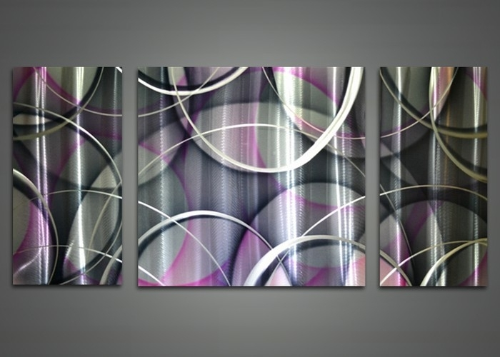 Wall Art Design Ideas: Abstract Base Purple Metal Wall Art White In Abstract Flower Metal Wall Art (View 8 of 15)