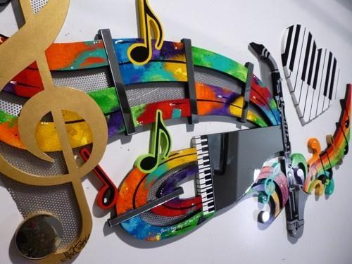 Wall Art Design Ideas: Abstract Golden Music Wall Art Metal Design With Abstract Musical Notes Piano Jazz Wall Artwork (View 4 of 20)