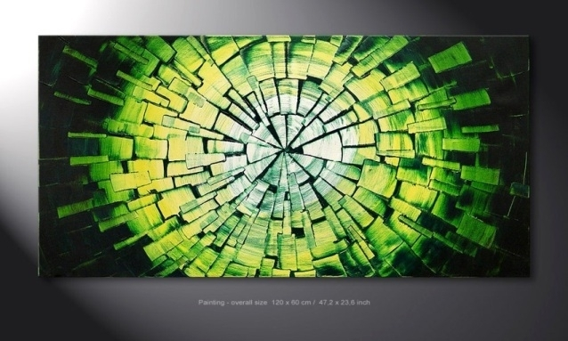 Wall Art Design Ideas: Ready To Hang Green Wall Art Hand Painted For Green Abstract Wall Art (View 7 of 15)