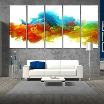 Wall Art Design: Oversized Abstract Wall Art Rectangle White Within Blue Canvas Abstract Wall Art (Image 15 of 20)