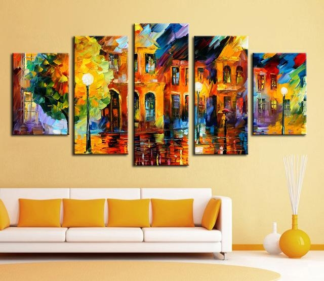 Wall Art Hot Sell 5 Piece Wall Art Sets Bright Color Abstract Inside Bright Abstract Wall Art (Image 20 of 20)