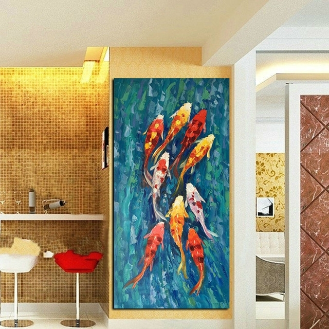 Wall Art Picture Hd Print Chinese Abstract Nine Koi Fish Landscape Throughout Abstract Fish Wall Art (View 6 of 15)