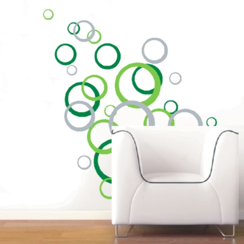 "Wall Decals – Abstract ""circles"" Vinyl Decals – Wall Art Stickers With Regard To Abstract Art Wall Decal (Image 12 of 15)"