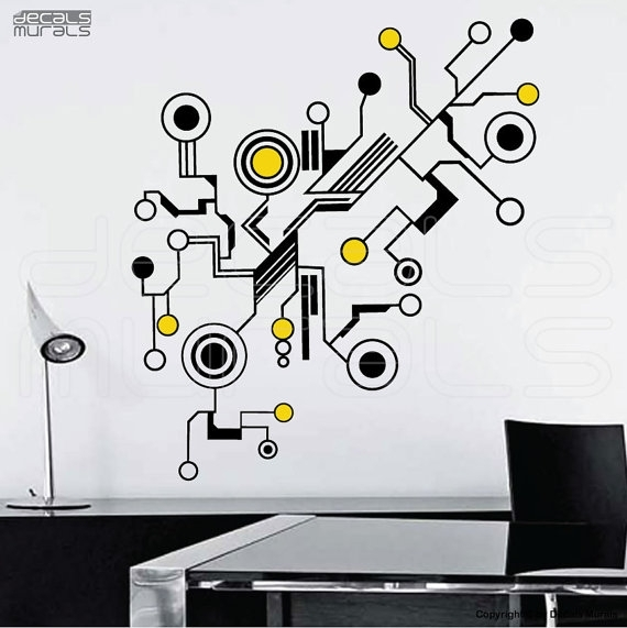 Wall Decals Large Tech Shapes Abstract Circuit Shaped Vinyl Art Inside Abstract Art Wall Decal (Image 13 of 15)