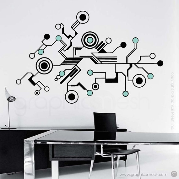 Wall Decals Large Tech Shapes Abstract Circuit Shaped Vinyl Within Abstract Art Wall Decal (Image 14 of 15)