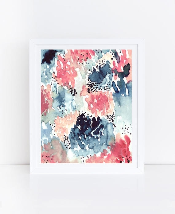 Watercolor Flowers Printable Abstract Art Print Floral Within Printable Abstract Wall Art (Image 15 of 15)