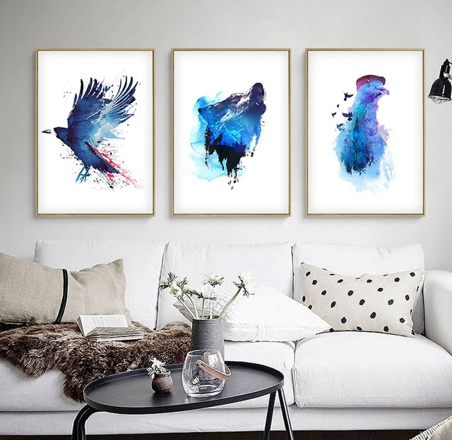 Watercolor Nordic Blue Ocean Animals Diy Oil Painting Abstract For Diy Modern Abstract Wall Art (View 13 of 15)