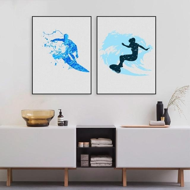Watercolor Surfers Art Print And Poster , Modern Abstract Surfing For Abstract Wall Art For Bathroom (View 15 of 20)