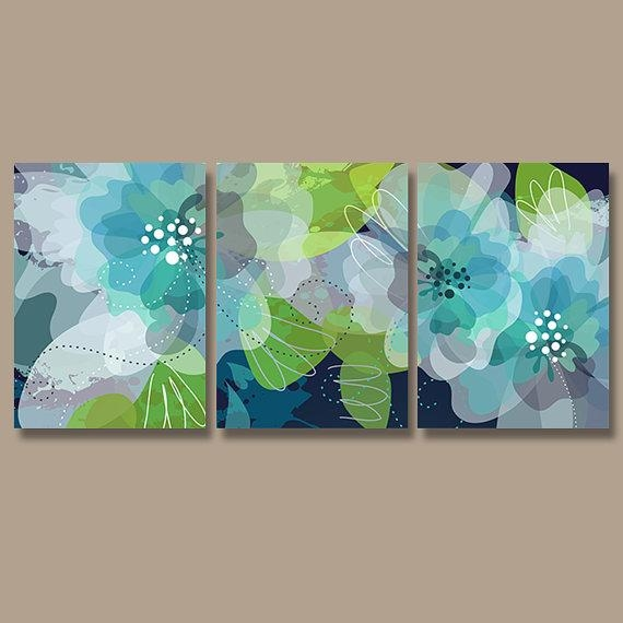 Watercolor Wall Art, Canvas Or Print Pottery Flower Artwork Within Blue Green Abstract Wall Art (View 5 of 20)