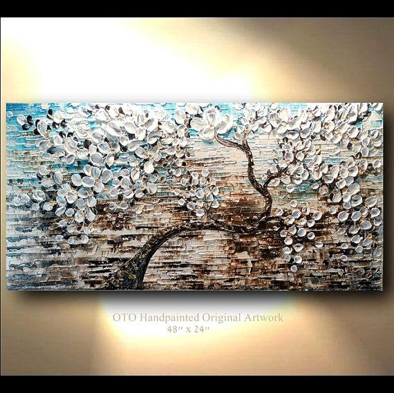 White Gold Brown Blue Flower Abstract Tree Painting Art Canvas Inside Blue And Brown Abstract Wall Art (View 3 of 20)