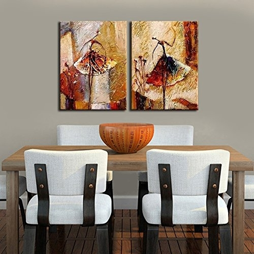 Wieco Art – Ballet Dancers 2 Piece Modern Decorative Artwork 100 For Abstract Wall Art For Dining Room (View 9 of 15)
