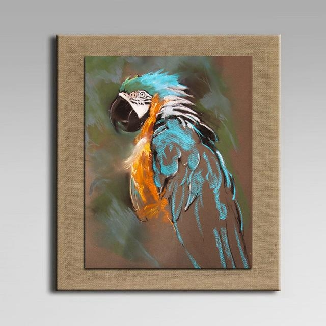 With Frame Cartoon Oil Painting On Linen Abstract Animal Wall Art With Regard To Abstract Animal Wall Art (View 5 of 20)