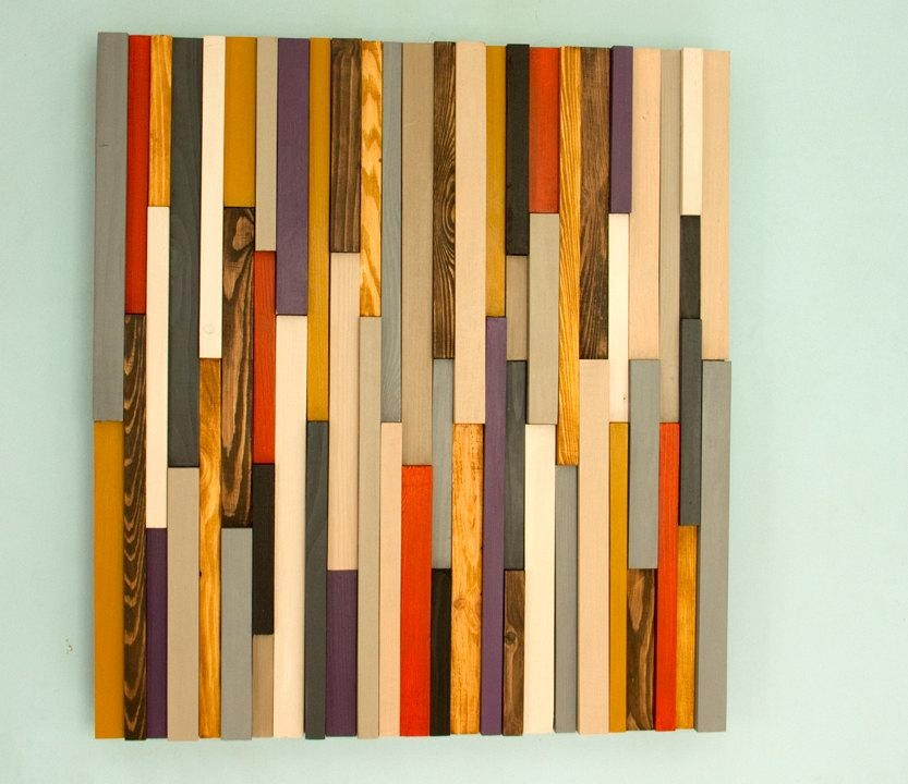 Wood Wall Art Sculpture 3D Abstract Wood Sculpture, Reclaimed Wall For Sculpture Abstract Wall Art (Image 20 of 20)
