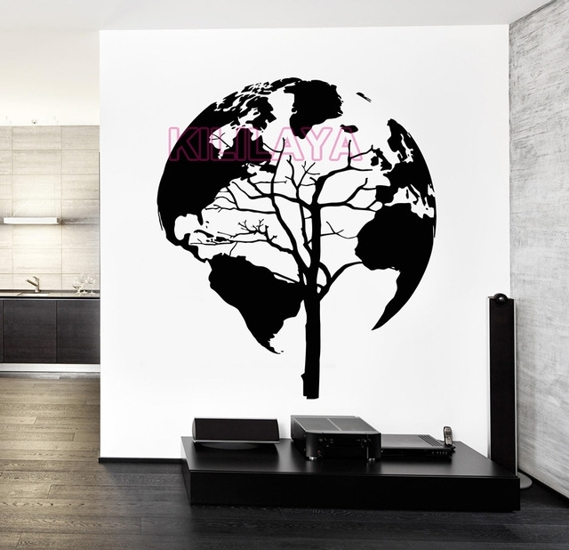 World Map Tree Abstract Vinyl Wall Art Home Decor Black Wall For Abstract Art Wall Decal (Image 15 of 15)