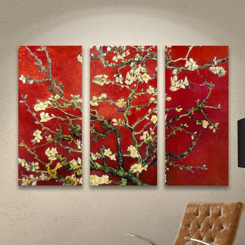 World Menagerie 'interpretation In Red Almond Blossom'vincent Regarding Vincent Van Gogh Multi Piece Wall Art (View 20 of 20)