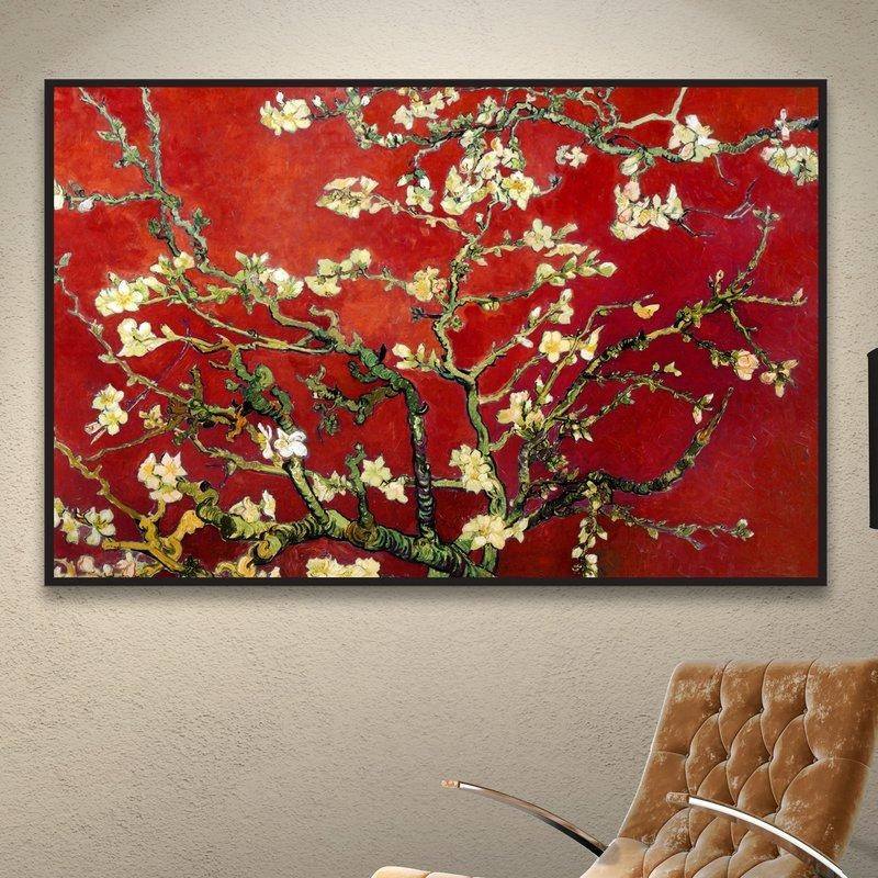 World Menagerie 'interpretation In Red Almond Blossom'vincent With Almond Blossoms Vincent Van Gogh Wall Art (View 9 of 20)