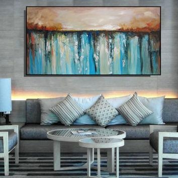 Yellow Abstract Painting Wall Art Large From Christovart On Etsy Pertaining To Blue And Brown Abstract Wall Art (View 12 of 20)