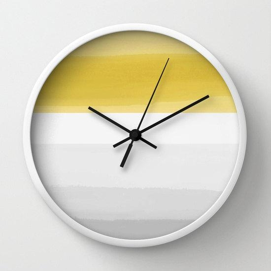 Yellow Grey Wall Clock Abstract Ombre Striped Mustard Yellow Grey in Abstract Clock Wall Art