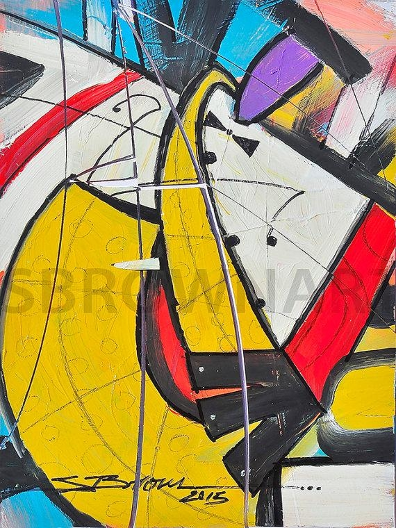 Yellow Horn Ii Watercolor Print African American Art Musical Inside Abstract Musical Notes Piano Jazz Wall Artwork (Image 20 of 20)