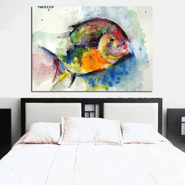 Ywdecor Print Watercolor Fish Ocean Painting Feng Shui Abstract throughout Abstract Fish Wall Art