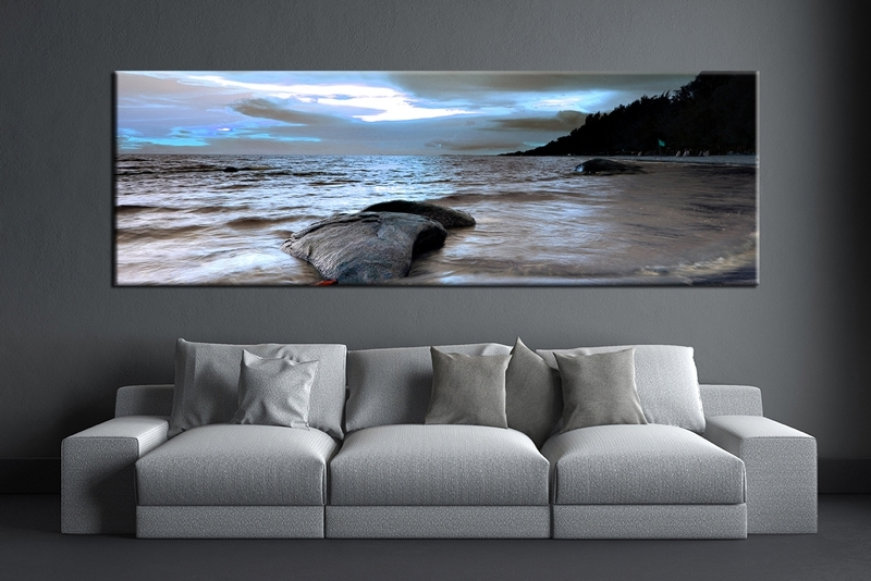 1 Piece Grey Canvas Ocean Wall Decor | Artwork | Pinterest Inside Panoramic Canvas Wall Art (Image 1 of 15)