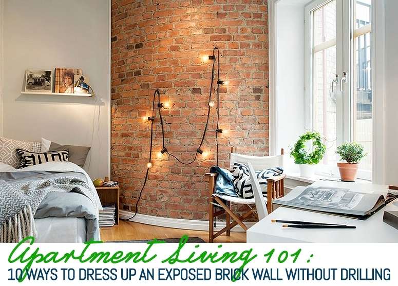 10 Ways To Decorate An Exposed Brick Wall Without Drilling | 6Sqft Intended For Exposed Brick Wall Accents (View 7 of 15)