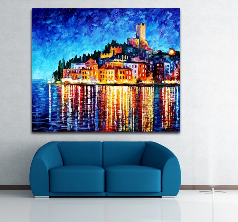 100% Hand Painted European Cities Greece Italy Architecture Art Regarding Italy Canvas Wall Art (Image 1 of 15)