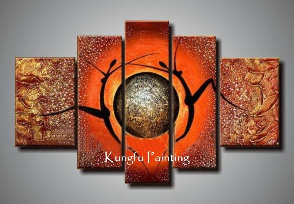 100% Hand Painted Unframed Abstract 5 Panel Canvas Art Living Room With Regard To Abstract Wall Art Living Room (View 7 of 15)
