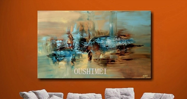 100% Handmade Abstract Oil Painting Large Wall Art On Canvas High Pertaining To Abstract Oil Painting Wall Art (Image 1 of 15)