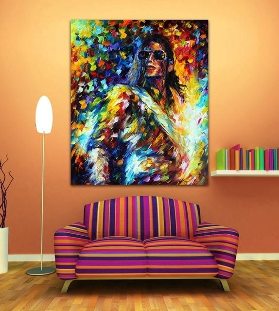 100% Handpainted Michael Jackson Jazz Music Guitarist Figure regarding Jazz Canvas Wall Art