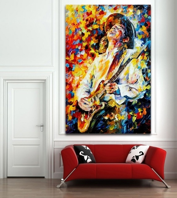 100% Handpainted Palette Knife Painting Jazz Music Instrument Art for Jazz Canvas Wall Art