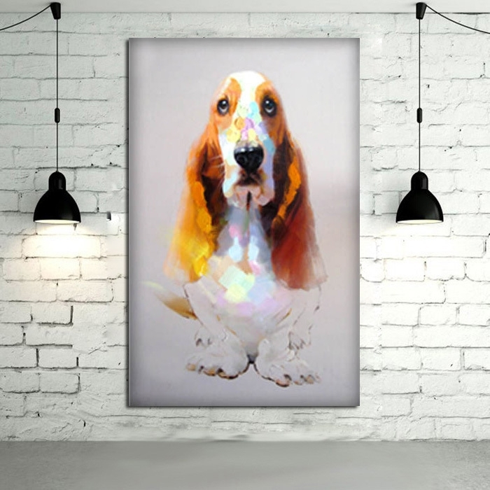 100%handpainted Modern Art Good Quality Animal Oil Painting Wall With Regard To Dogs Canvas Wall Art (Image 1 of 15)