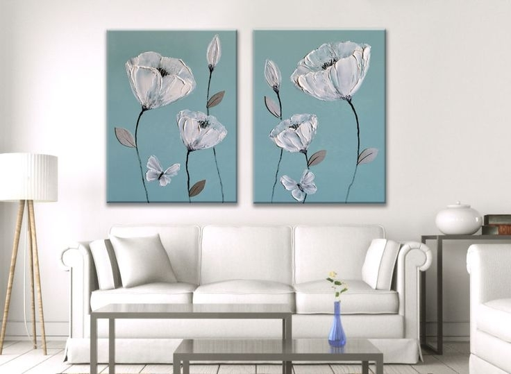 11 Best Japanese Oriental Flower Paintings On Canvas Images On With Regard To Canvas Wall Art Pairs (Image 1 of 15)
